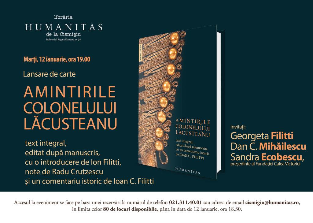 12 ianuarie 2016: lansare AMINTIRILE COLONELULUI LĂCUSTEANU