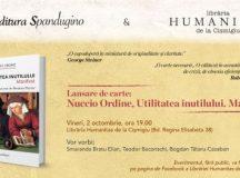 Lansare de carte: Nuccio Ordine  – Utilitatea inutilului / vineri, 2 octombrie, de la ora 19.00